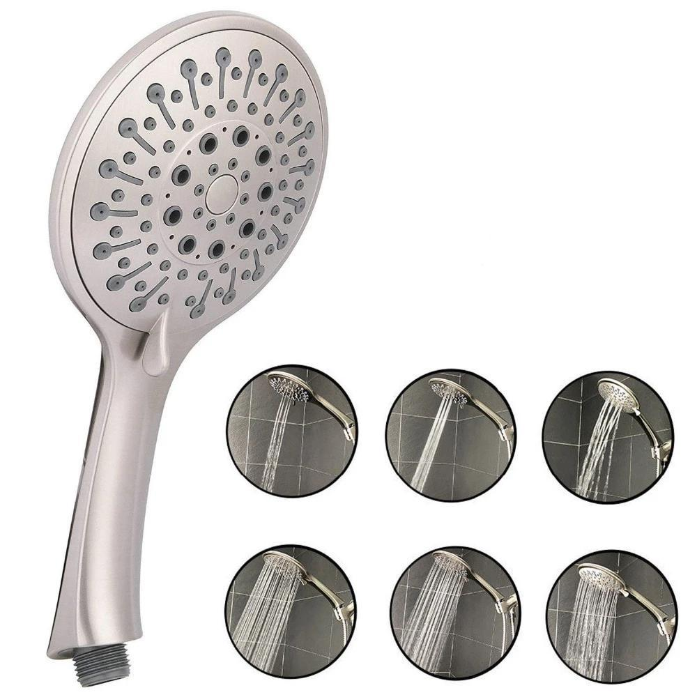 6 Settings MuIti Function ABS Brushed Nickel Handheld Shower Massage Shower Head FLUXURIE.COM