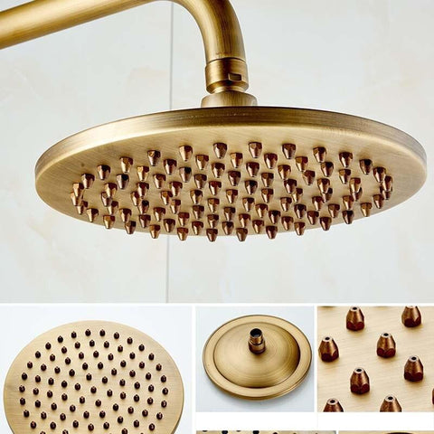 8 Inch Antique Brass Dual Handles Shower Set / Rainfall & Auto-Thermostatic Control - MIRANDA Miranda FLUXURIE.COM