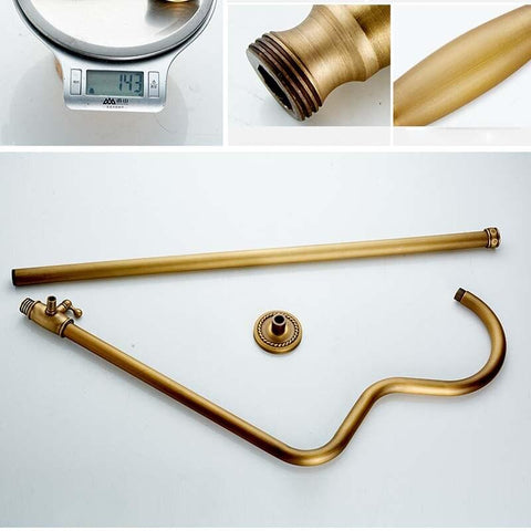 "8"" Rainfall Thermostatic Shower Wall Mounted Brass Antique Bathroom Shower Mixers Dual Handles- MIRANDA Miranda FLUXURIE.COM"