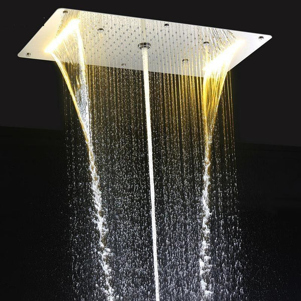 "9 Function Led Light Rain Shower 28"" x 15"" Large Waterfall Multi Function Led Ceiling Mount Overhead Shower Head FLUXURIE.COM"