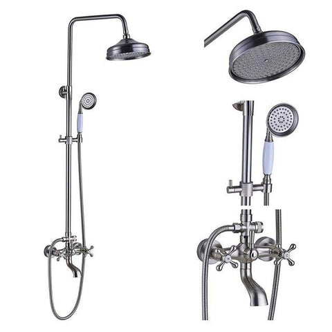 ADJUSTABLE CLASSIC SHOWER SET SYSTEM 8 INCH IN BRUSHED NICKEL - IMPERIA Imperia FLUXURIE.COM Head A