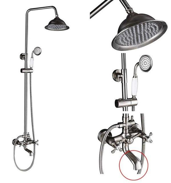 ADJUSTABLE CLASSIC SHOWER SET SYSTEM 8 INCH IN BRUSHED NICKEL - IMPERIA Imperia FLUXURIE.COM Head B - Faucet B