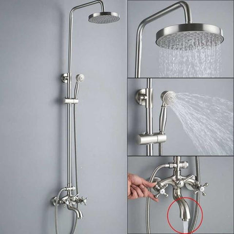 ADJUSTABLE CLASSIC SHOWER SET SYSTEM 8 INCH IN BRUSHED NICKEL - IMPERIA Imperia FLUXURIE.COM Head C - Faucet A