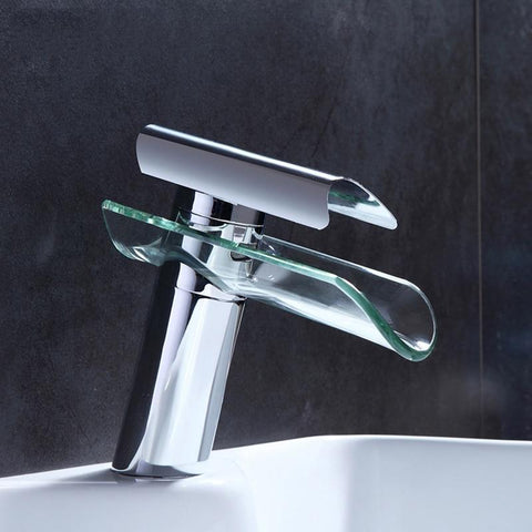 Advanced Modern glass waterfall Chrome faucet Advanced Modern glass waterfall Chrome faucet fluxurie.com Chrome