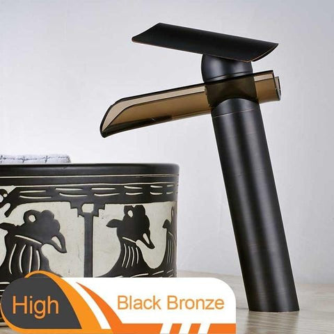 Advanced modern glass waterfall Faucet FLUXURIE.COM High Black Bronze