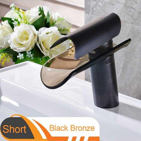 Advanced modern glass waterfall Faucet FLUXURIE.COM Short Black Bronze