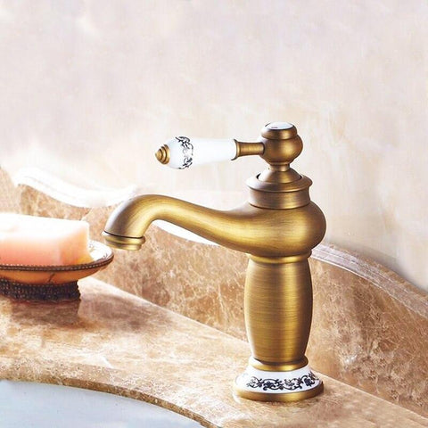 Antique Bronze & Ceramic Bathroom Faucet FLUXURIE.COM