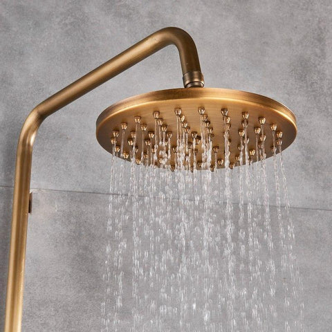 "Antique Rain Shower Set System 8"" with Storage Shelf - NOVELLA Novella FLUXURIE.COM"