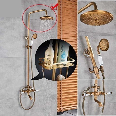 "Antique Rain Shower Set System 8"" with Storage Shelf - NOVELLA Novella FLUXURIE.COM QiZiGuan01"