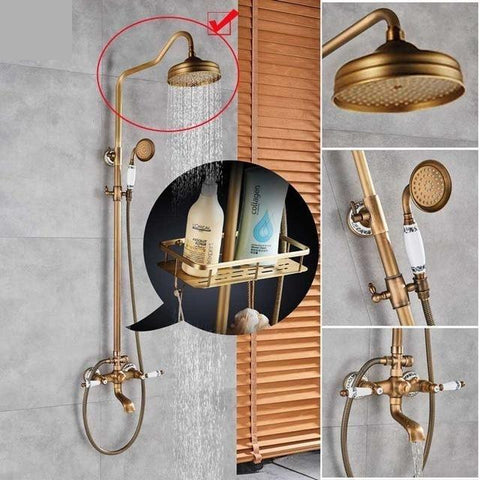 "Antique Rain Shower Set System 8"" with Storage Shelf - NOVELLA Novella FLUXURIE.COM SGUAN01"