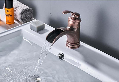 Antique Single Handle Waterfall Basin Sink Faucet FLUXURIE.COM