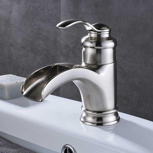Antique Single Handle Waterfall Basin Sink Faucet FLUXURIE.COM Brushed Nickel