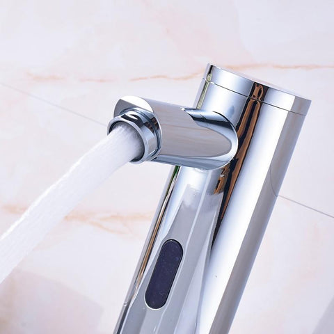 Automatic Inflrared Sensor Faucet with Sink Mixer & Hot Cold Mixer / Polished Chrome FLUXURIE.COM