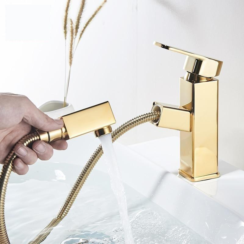 Bathroom faucet gold with pullout sprayer Bathroom faucet gold with pullout sprayer FLUXURIE.COM