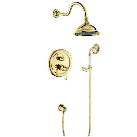 "Beautiful 8"" Antique Style Shower system - GILIA Gilia FLUXURIE.COM golden finished"