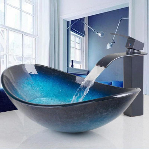 Black And Blue Glass Hand- Painted Oval Bathroom Vessel Sink Set With Faucet- CALISTA Calista FLUXURIE.COM
