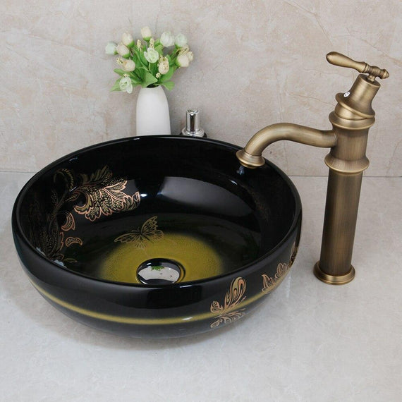 Black and Copper Pattern Ceramic Round Bathroom Vessel Sink Set With Faucet- ATHENA Athena FLUXURIE.COM