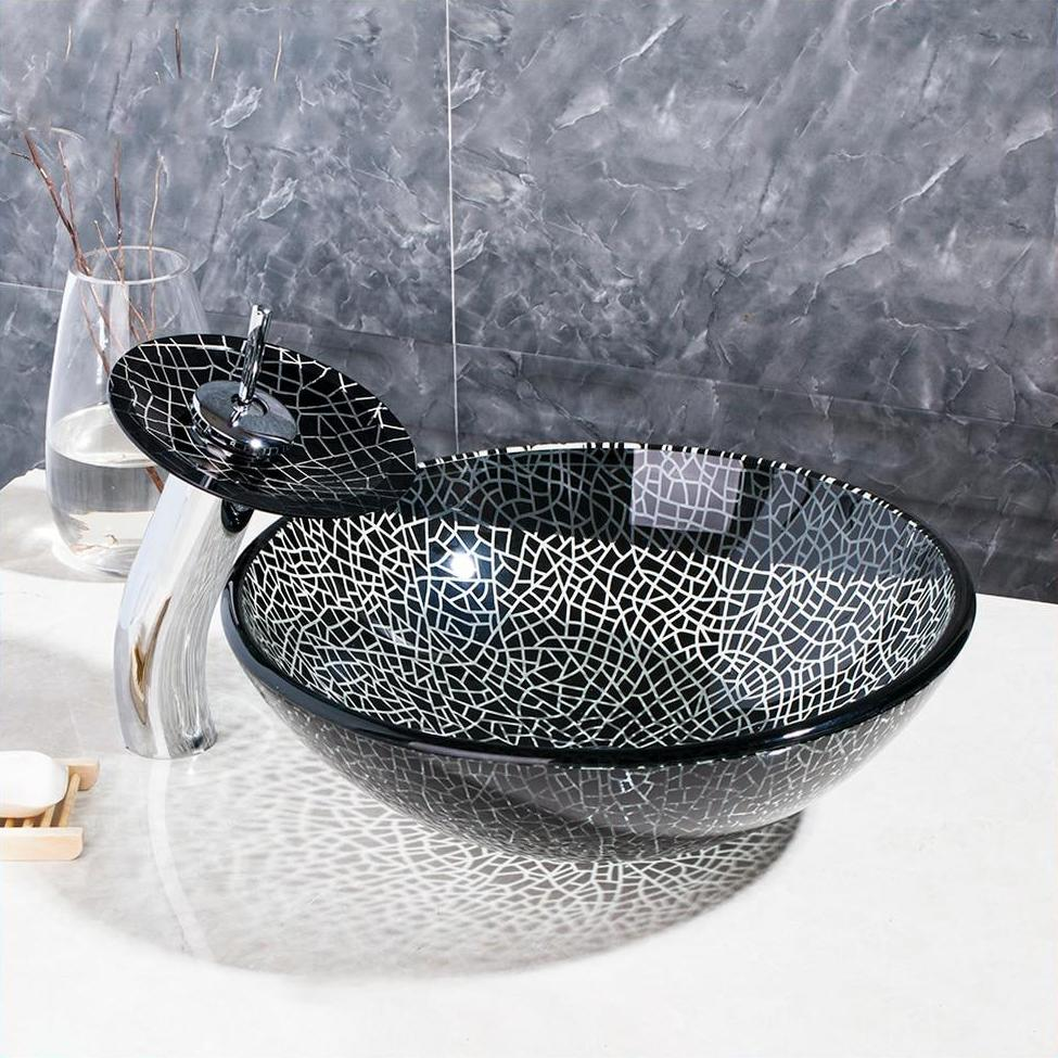 Black and White Glass Round Bathroom Vessel Sink Set With Faucet- EVANGELINA Evangelina FLUXURIE.COM