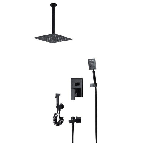Black Rainfall Shower Set System Ceiling- or Wallmount 10 inch - NICOLETTA Nicoletta FLUXURIE.COM Ceiling mount head