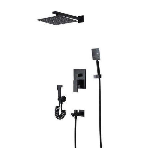 Black Rainfall Shower Set System Ceiling- or Wallmount 10 inch - NICOLETTA Nicoletta FLUXURIE.COM Wall mount head