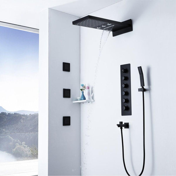 Black Shower Set System with Rainfall, Waterfall, rotating Jets, 3 Body Jets and Thermostatic Mixer - EMANUELA Emanuela FLUXURIE.COM