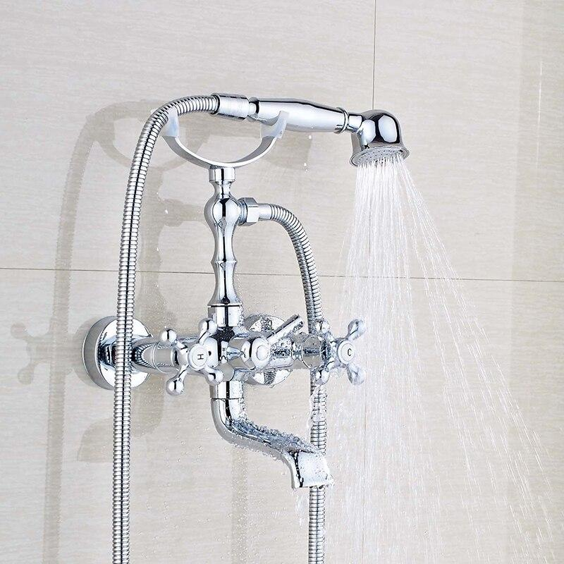 Brass Wall Mount Chrome Bathtub Faucet with Hand Shower and Hot & Cold Mixer FLUXURIE.COM