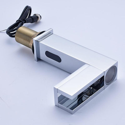 Chrome bathroom faucet for cold water with hand sensor and temperature controlled LED Chrome bathroom faucet for cold water with hand sensor and temperature controlled LED FLUXURIE.COM