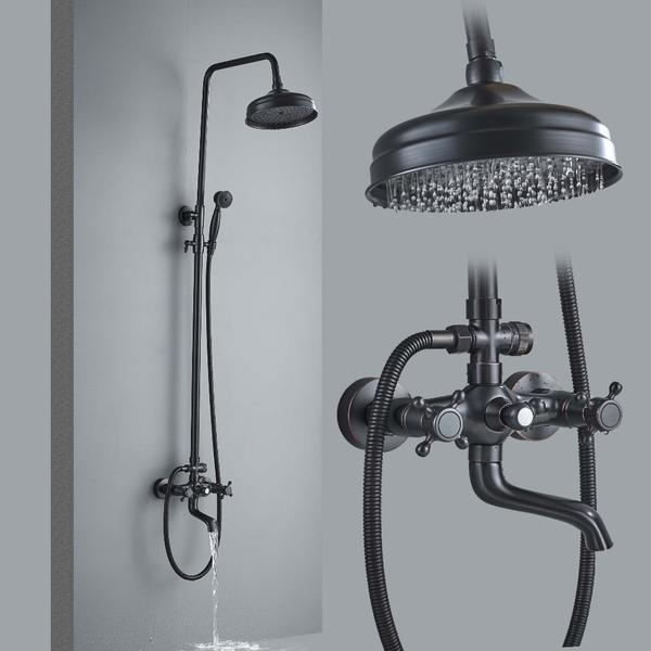Classic Black Shower Set System 8 inch in Black Bronze - AMINA Amina FLUXURIE.COM Shower Faucet C