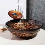 Copper Glass Round Bathroom Vessel Sink Set With Faucet- ANGELINA Angelina FLUXURIE.COM