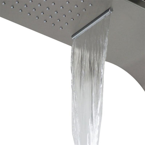 "Designer Shower Panel Rain / Waterfall 58"" Brushed Anti-rust Stainless Steel with Body Sprays - FUTURA Futura FLUXURIE.COM"