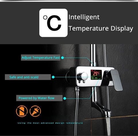 Digital Display Mixer Shower System - <i>Tempra</i> Digital Bath Display Shower Mixer Faucet System fluxurie.com