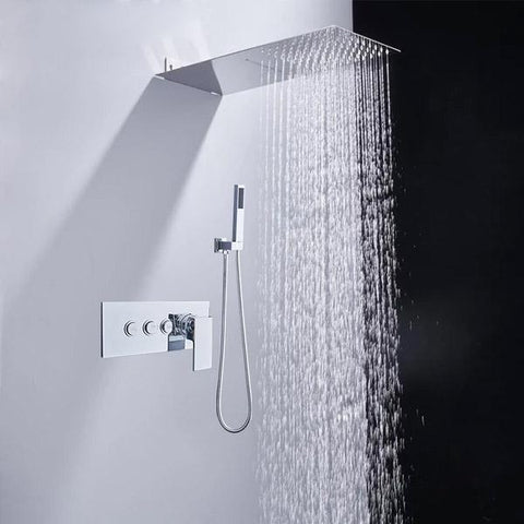 Flat Rain, Waterfall, wall mount Designer Shower System Set - TESSA Tessa FLUXURIE.COM
