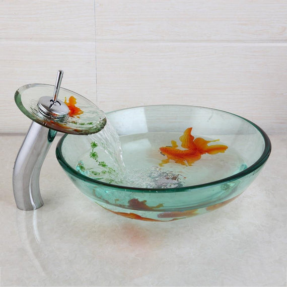 Gold Fish Painted Transparent Glass Round Bathroom Vessel Sink Set With Faucet- CALLIE Callie FLUXURIE.COM