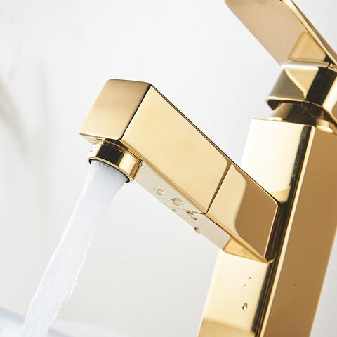 Golden pull out bathroom basin faucet Golden pull out bathroom basin faucet FLUXURIE.COM
