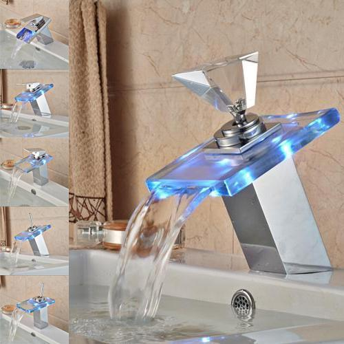 LED RGB Colors Basin Sink Faucet Deck Mount Waterfall LED RGB Colors Basin Sink Faucet Deck Mount Waterfall Brass fluxurie.com