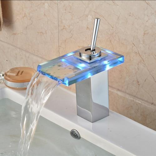 LED RGB Colors Basin Sink Faucet Deck Mount Waterfall LED RGB Colors Basin Sink Faucet Deck Mount Waterfall Brass fluxurie.com Style 2