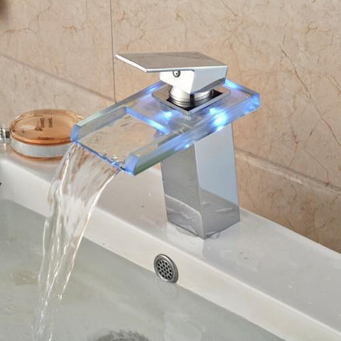 LED RGB Colors Basin Sink Faucet Deck Mount Waterfall LED RGB Colors Basin Sink Faucet Deck Mount Waterfall Brass fluxurie.com Style 4