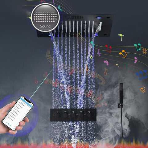 Mate Black Bluetooth Music Smart LED Lighting Shower Faucet Set - LYRA Lyra FLUXURIE.COM