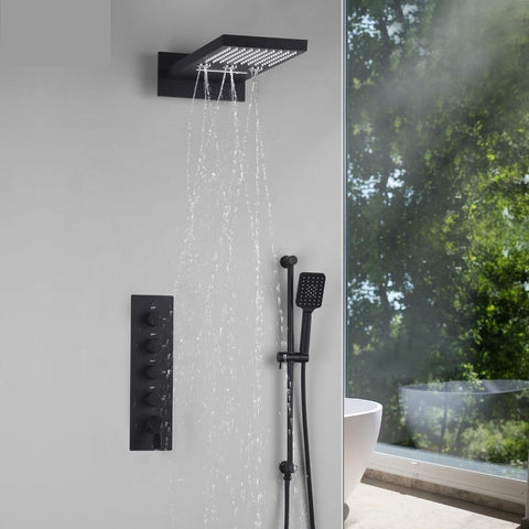 Matte Black Shower System with Waterfall, Rain, Rotating Water Spa Massage in 22 inch - Fiora Fiora FLUXURIE.COM