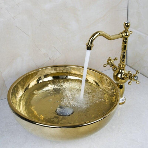 Matte Gold Cermic Round Bathroom Vessel Sink Set With Faucet- HERA Hera FLUXURIE.COM