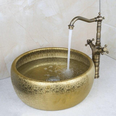 Matte Gold Cermic Round Bathroom Vessel Sink Set With Faucet- HERA Hera FLUXURIE.COM Model 3