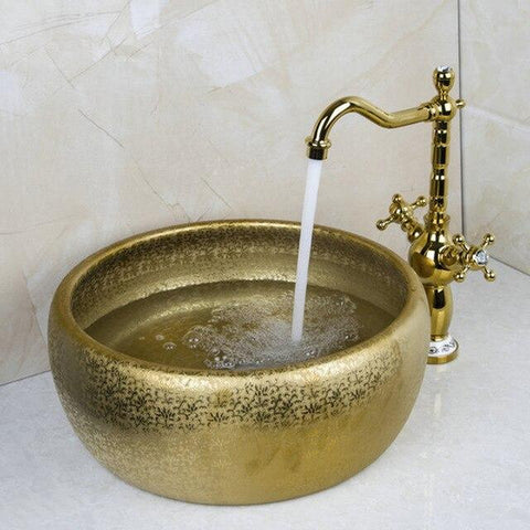 Matte Gold Cermic Round Bathroom Vessel Sink Set With Faucet- HERA Hera FLUXURIE.COM Model 4