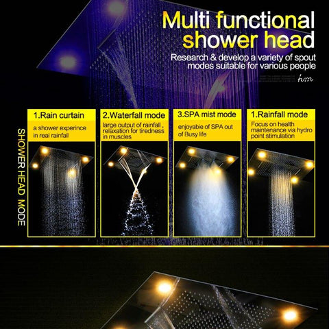"Multi Function Led Light 24"" x 32""Ceiling Mount Remote Controled LED Rainfall Waterfall Massage Shower Head FLUXURIE.COM"