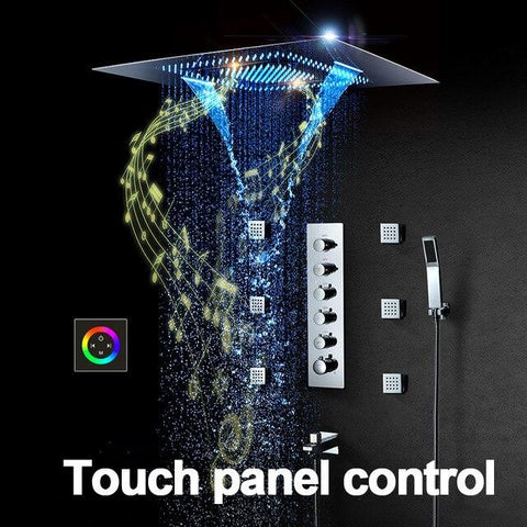 Music LED Shower head 800*600mm Spray Waterfall Rainfall Shower Thermostatic Unit Speaker Showers - SERENA Serena FLUXURIE.COM Color control panel