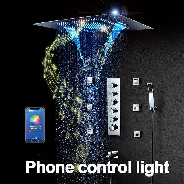 Music LED Shower head 800*600mm Spray Waterfall Rainfall Shower Thermostatic Unit Speaker Showers - SERENA Serena FLUXURIE.COM Phone Control