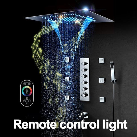 Music LED Shower head 800*600mm Spray Waterfall Rainfall Shower Thermostatic Unit Speaker Showers - SERENA Serena FLUXURIE.COM Remote Control