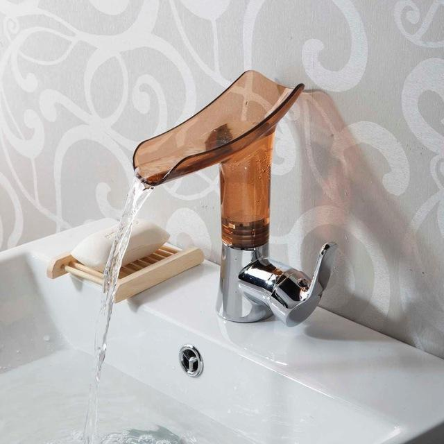 New Design Waterfall Acrylic Chrome Bathroom Faucet New Design Waterfall Acrylic Chrome Bathroom Faucet fluxurie.com Brown United States
