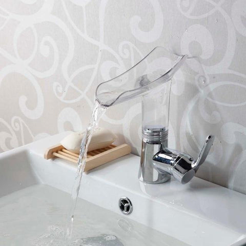 New Design Waterfall Acrylic Chrome Bathroom Faucet New Design Waterfall Acrylic Chrome Bathroom Faucet fluxurie.com Clear United States