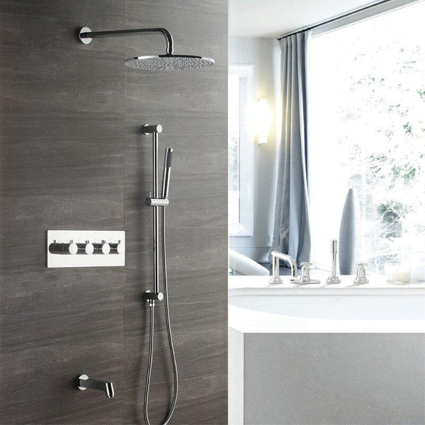 Polished Bath&Shower Square Faucet Brass Bathroom Rainfall Shower Head 12 Inch Rain Combo Unit Set Wall Mounted With Slide Bar FLUXURIE.COM