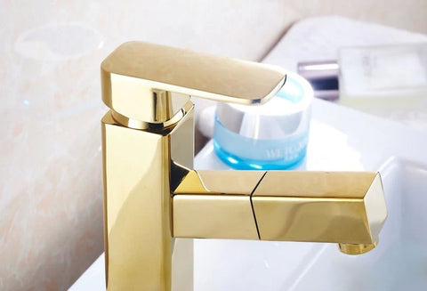 Bathroom faucet gold with pullout sprayer